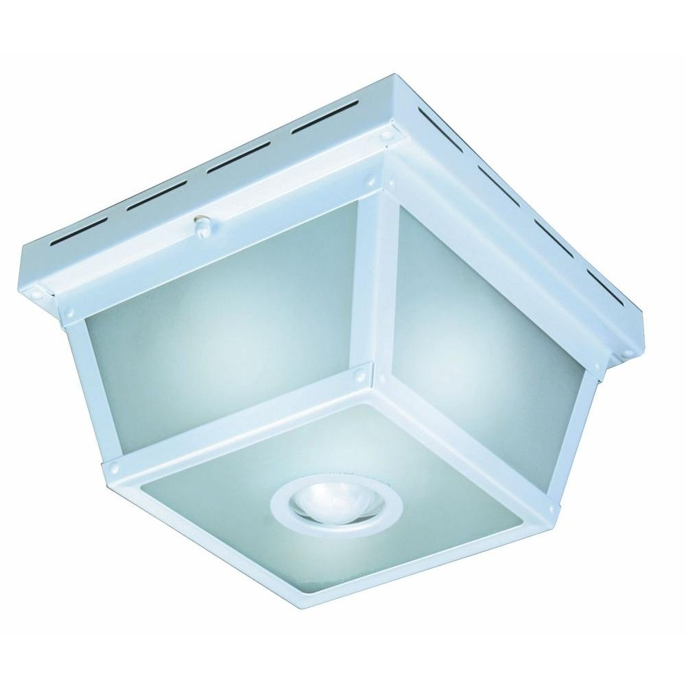 Popular Hampton Bay 360° Square 4 Light Black Motion Sensing Outdoor Flush Regarding Outdoor Motion Sensor Ceiling Mount Lights (View 15 of 20)