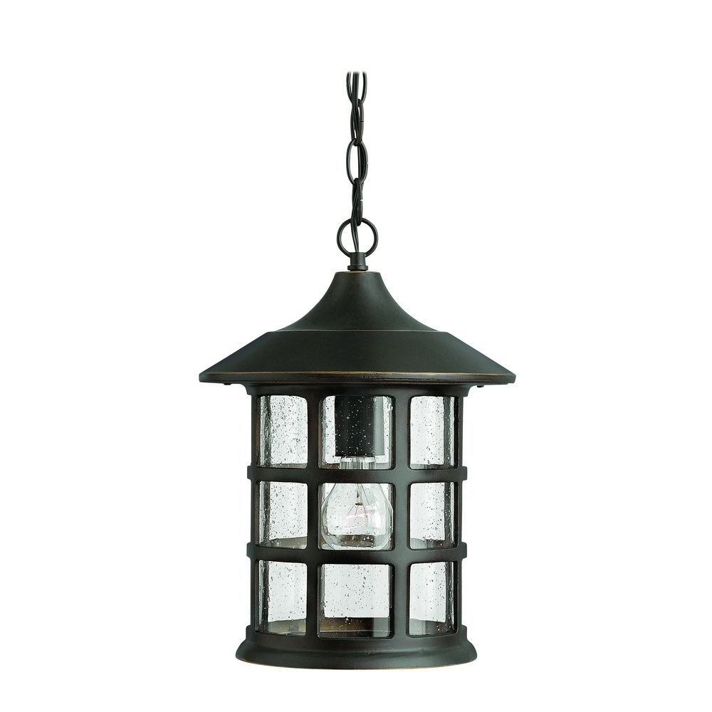 Popular Led Outdoor Hanging Lanterns Throughout Seeded Glass Led Outdoor Hanging Light Oil Rubbed Bronze Hinkley (View 13 of 20)