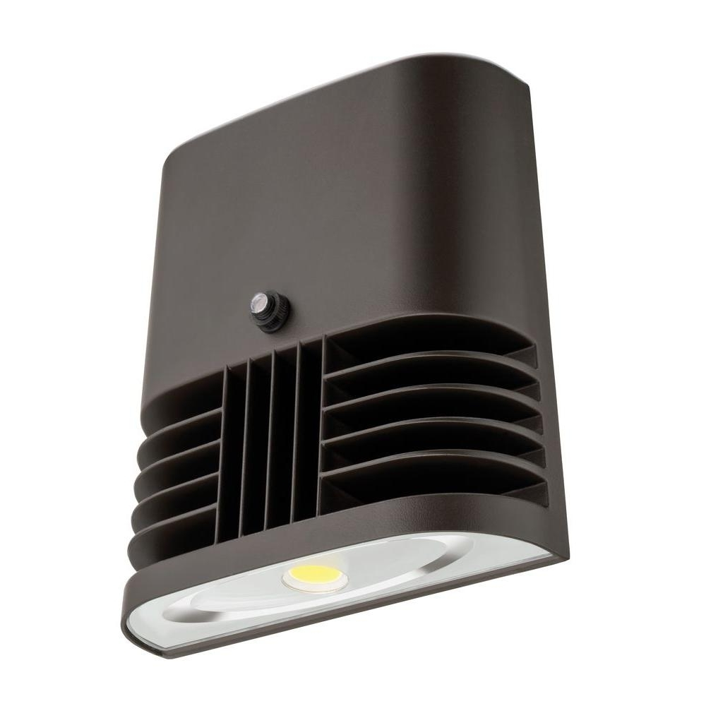 Popular Lithonia Lighting Wall Mount Outdoor Bronze Led Floodlight With Photocell Within Lithonia Lighting Dark Bronze 20 Watt 5000K Daylight Outdoor (View 18 of 20)