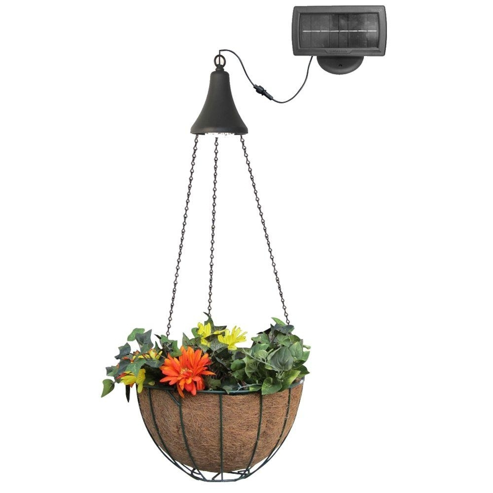 Popular Outdoor Hanging Basket Lights Regarding Gama Sonic Solar Powered Black Integrated Led Hanging Spotlight With (View 16 of 20)