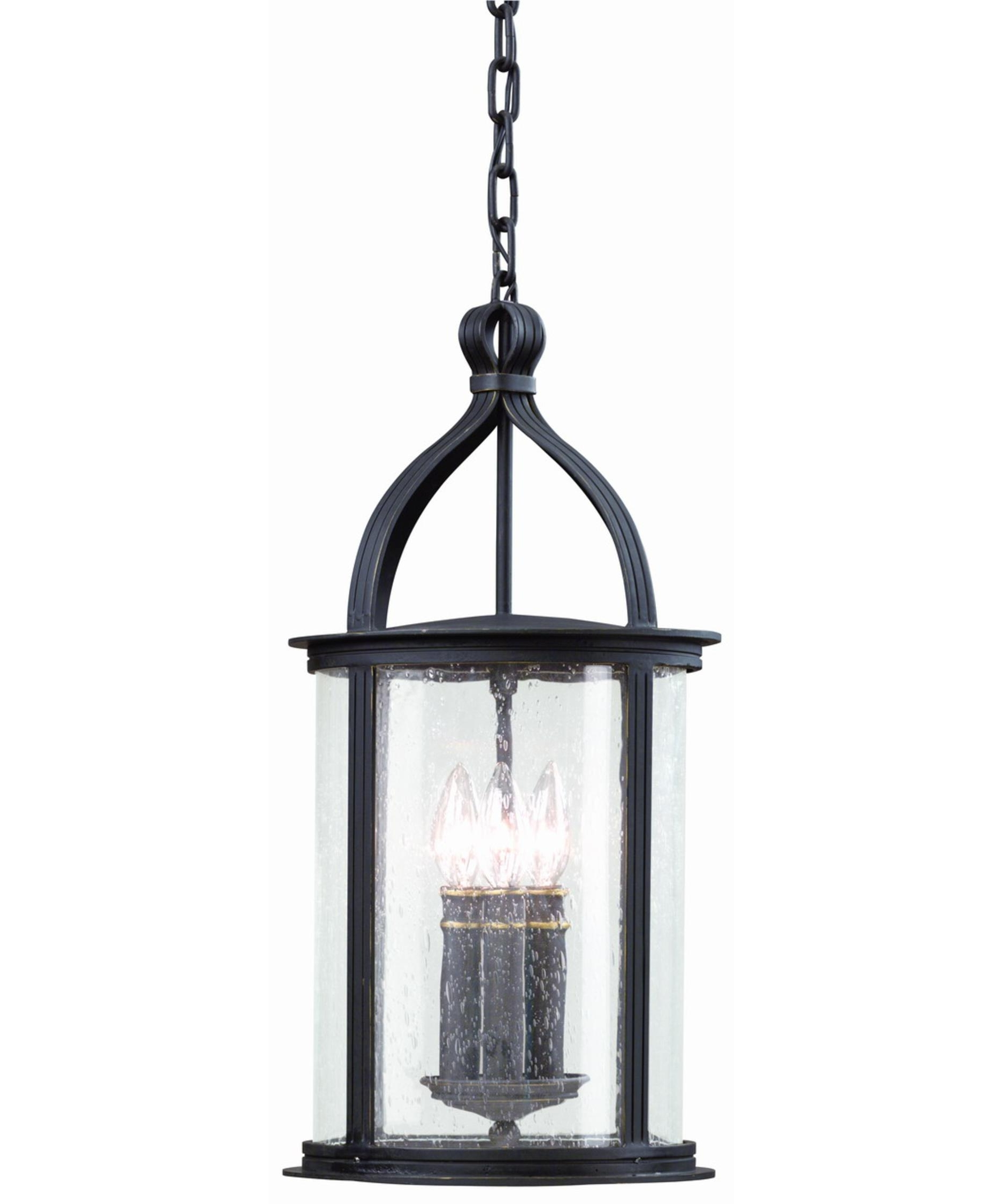 Popular Outdoor Hanging Glass Lanterns Within Troy Lighting F9476 Scarsdale 10 Inch Wide 3 Light Outdoor Hanging (View 12 of 20)