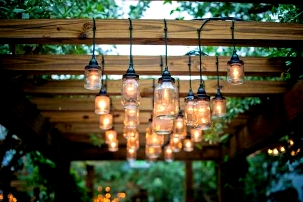 Popular Outdoor Hanging String Lanterns Within Diy : Home Lighting Cool Pergola Light Ideas Outdoor Chandeliers And (View 18 of 20)