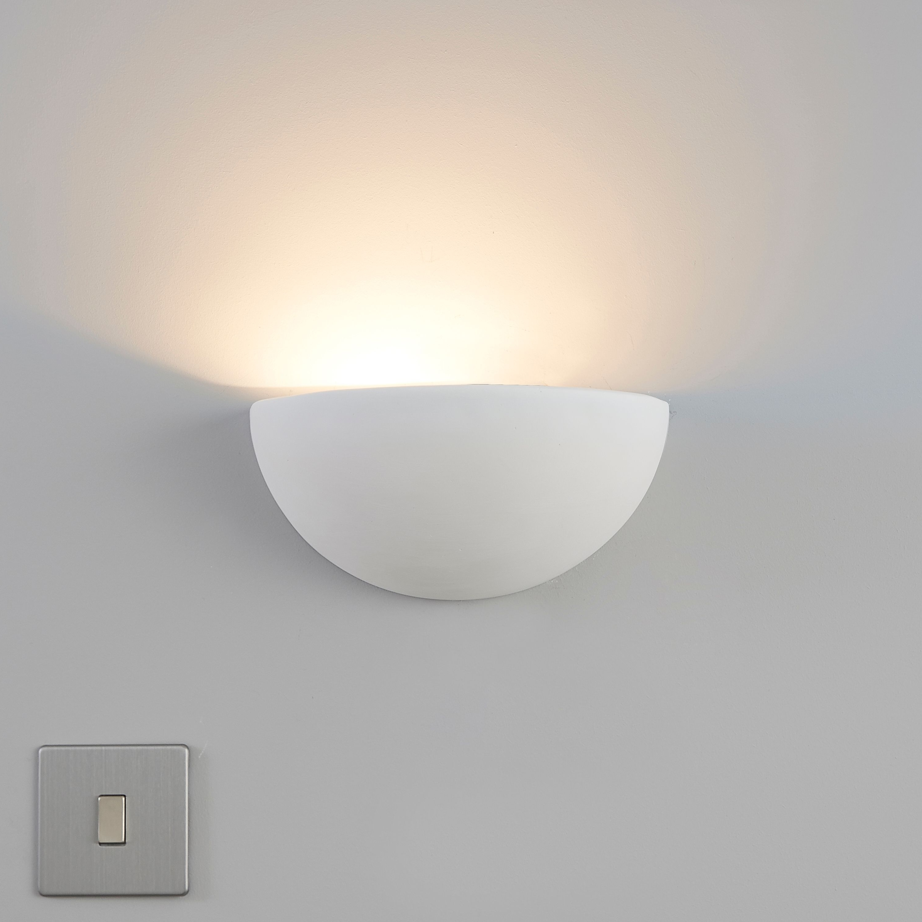 Popular Outdoor Wall Lighting At B&q With Aura Cream Wall Uplighter (View 17 of 20)