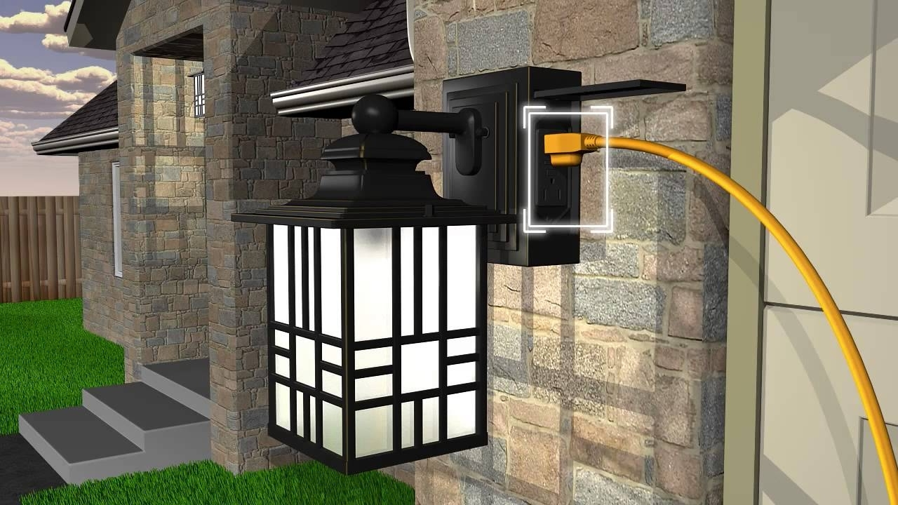 Popular Outdoor Wall Lights With Electrical Outlet Throughout Sunbeam Led Wall Lantern With Gfci And Sensor – Youtube (View 14 of 20)