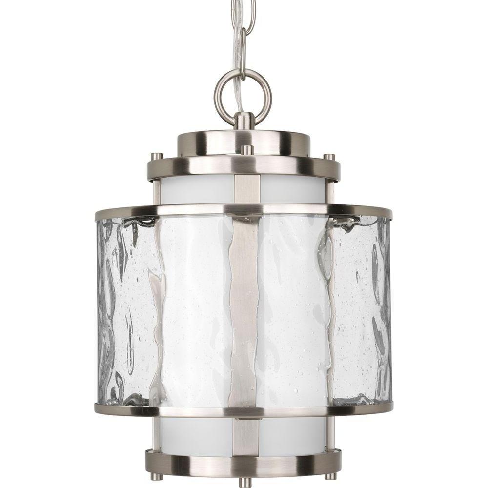 Popular Progress Lighting Bay Court Collection Brushed Nickel Outdoor Regarding Outdoor Ceiling Hanging Lights (View 16 of 20)