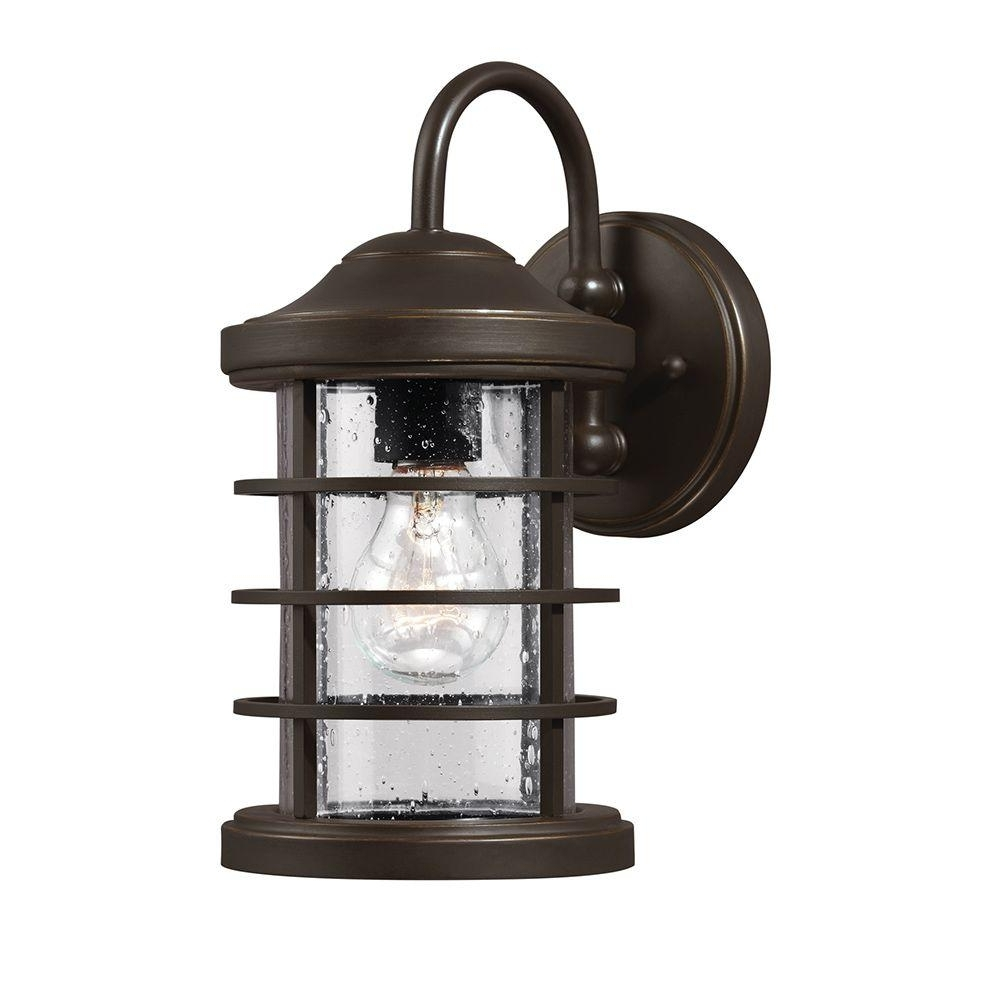 Popular Sea Gull Lighting Sauganash 1 Light Outdoor Antique Bronze Wall With Outdoor Wall Lighting With Seeded Glass (View 20 of 20)