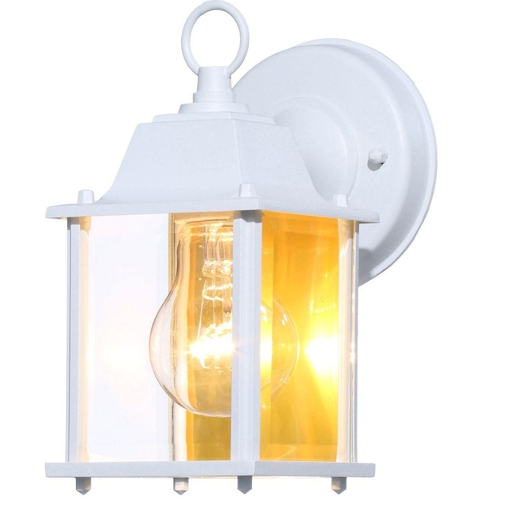 Popular White Outdoor Wall Lighting Pertaining To Hampton Bay 1 Light White Outdoor Wall Lantern Bpm1691 Wht – The (View 14 of 20)