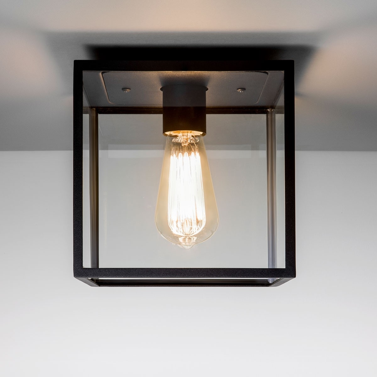 Preferred Black Outdoor Ceiling Lights Pertaining To Astro Box Black Outdoor Ceiling Light At Uk Electrical Supplies (View 16 of 20)