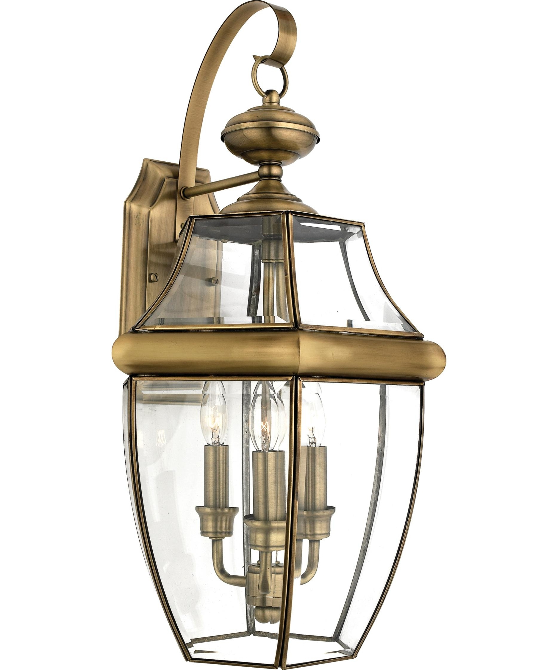 Preferred Brass Outdoor Wall Lighting In Quoizel Ny8318 Newbury 13 Inch Wide 3 Light Outdoor Wall Light (View 16 of 20)