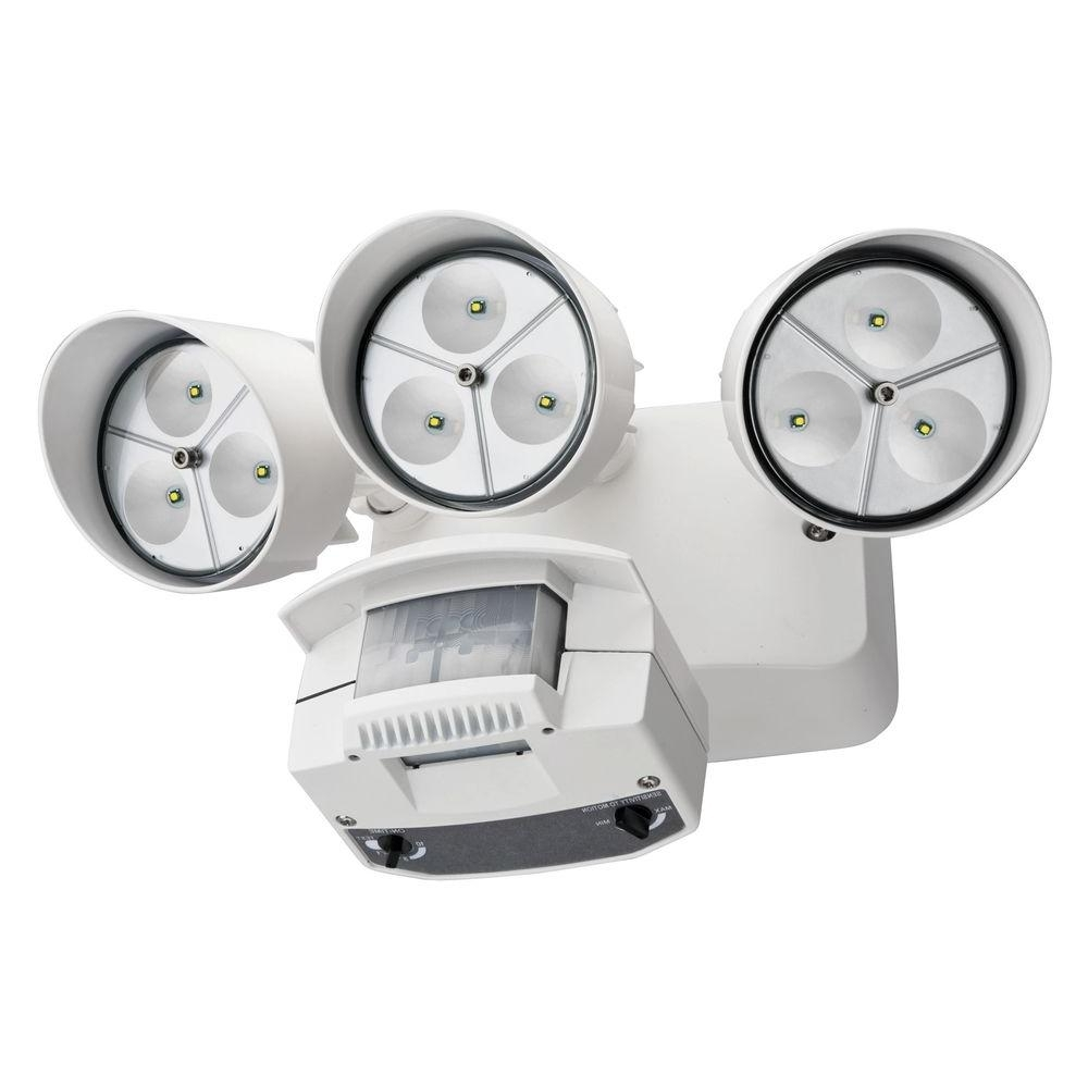 Preferred Lithonia Lighting White Motion Sensor Outdoor Flood Light Led Oflr For Lithonia Lighting Wall Mount Outdoor Bronze Led Floodlight With Photocell (View 18 of 20)