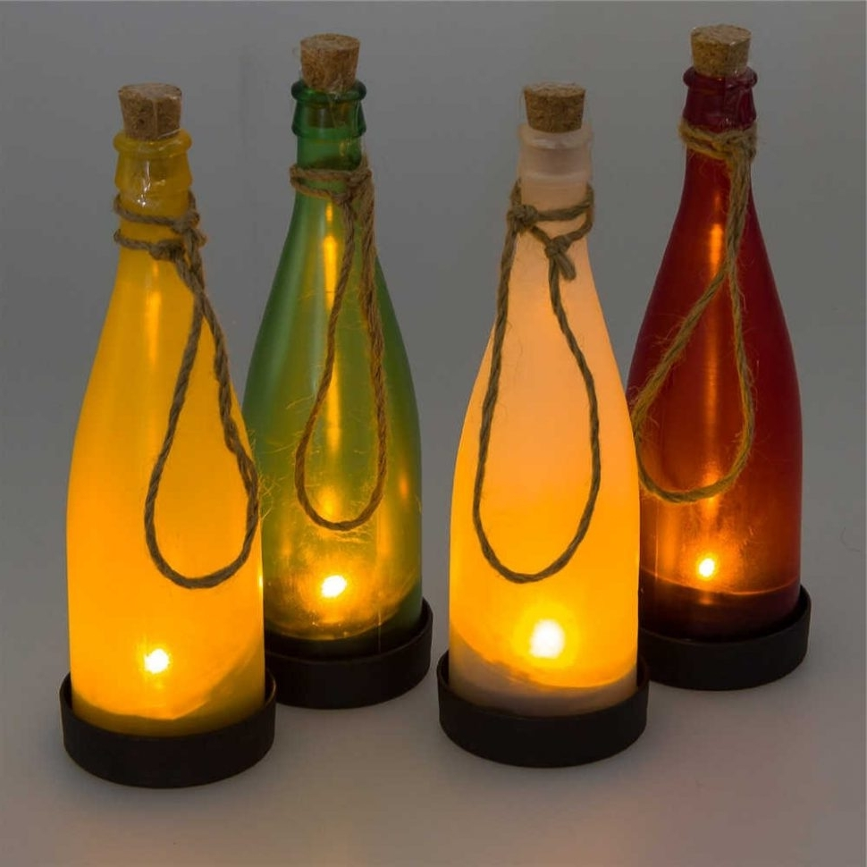 Preferred Outdoor Hanging Bottle Lights With Regard To Diy : Green Wine Bottle Tiki Torches Outdoor Lighting Hanging Diy (View 14 of 20)
