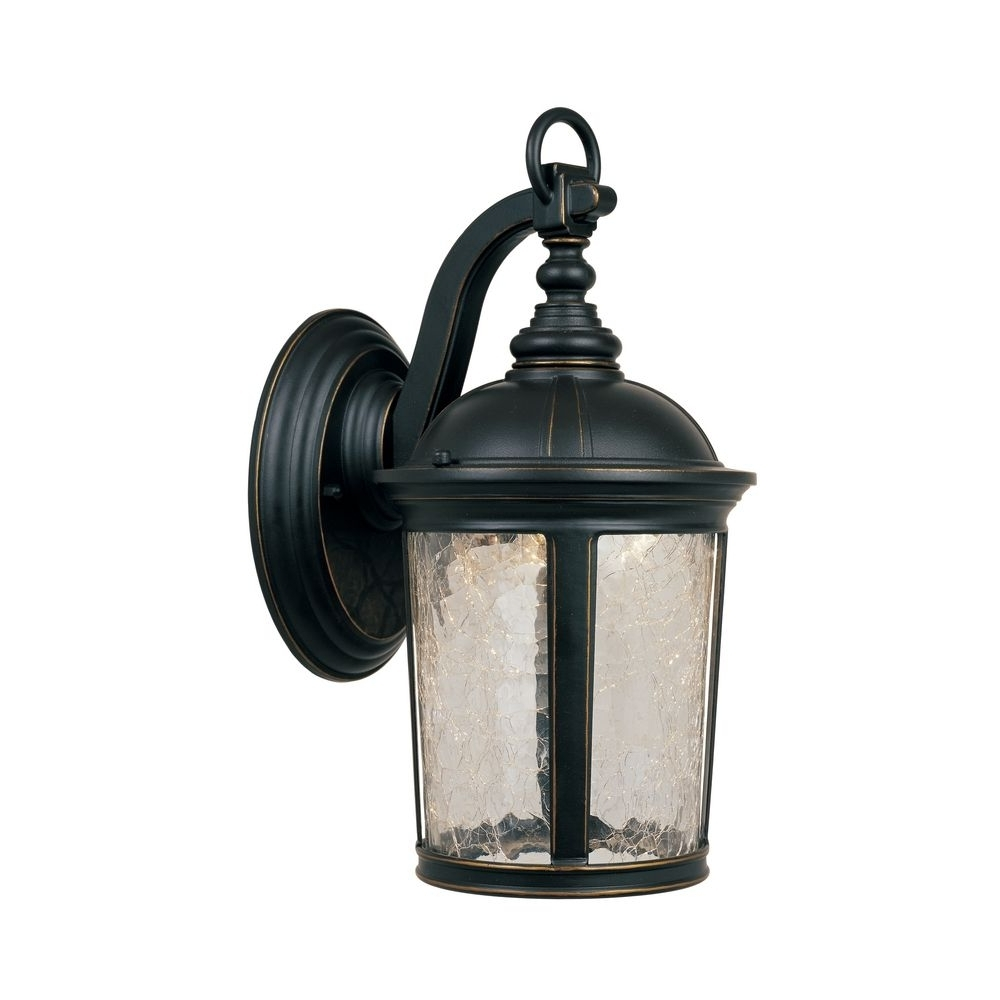 Preferred Outdoor Wall Sconce Led Lights Within Led Outdoor Wall Light With Clear Glass In Aged Bronze Patina Finish (View 17 of 20)