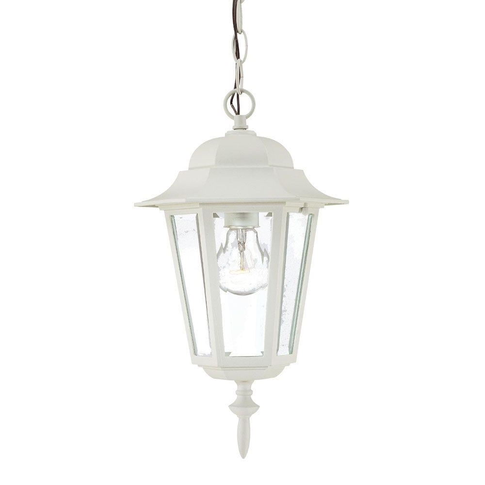Preferred White Outdoor Hanging Lanterns Intended For Acclaim Lighting Camelot Collection 1 Light Textured White Outdoor (View 2 of 20)