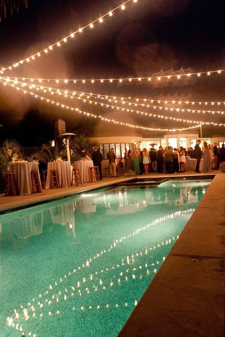 Prep Your Pool For A Partyhanging String Lights Above The Water Throughout Most Recent Outdoor Hanging Pool Lights (View 15 of 20)