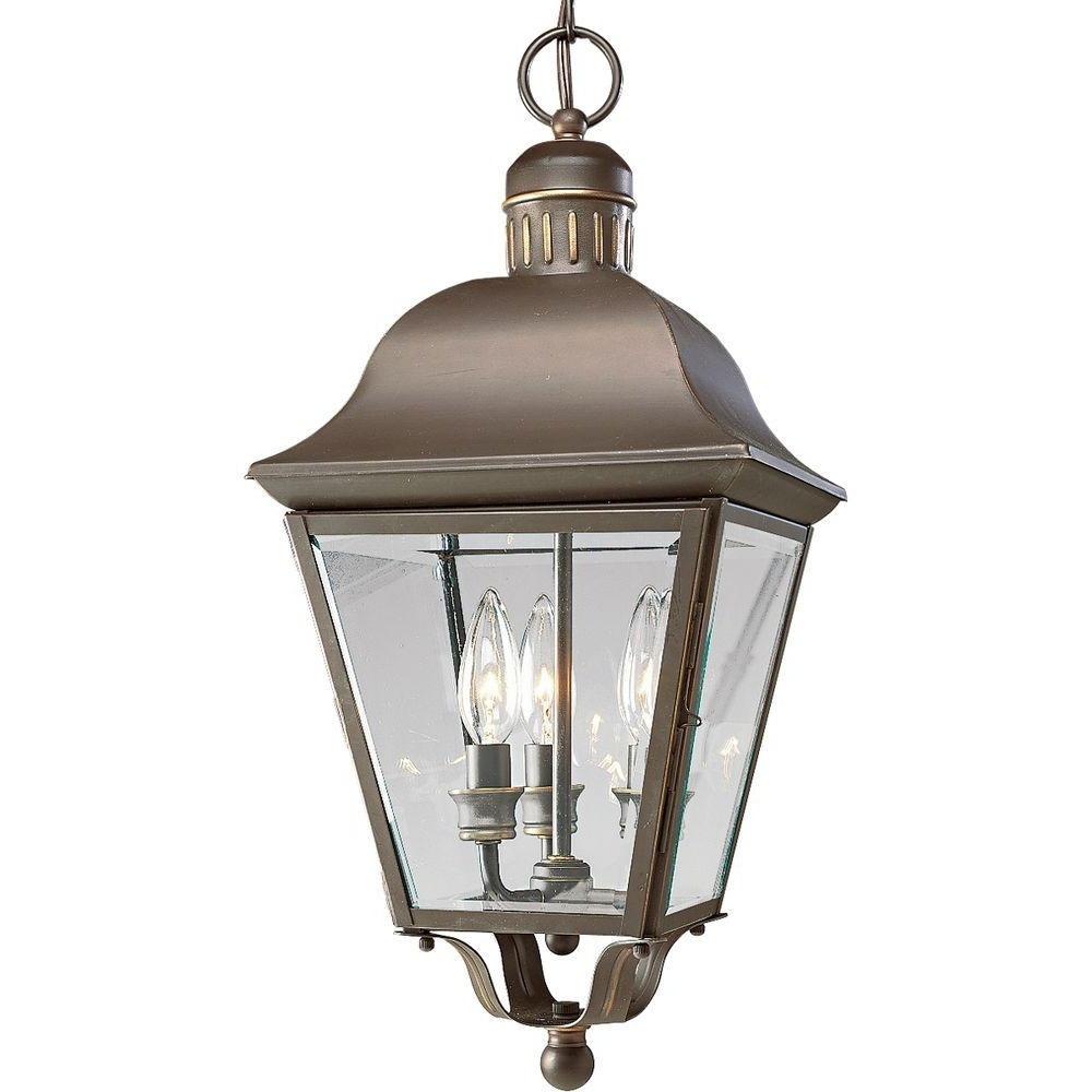 Progress Lighting Andover Collection 3 Light Antique Bronze Outdoor Pertaining To Most Up To Date Outdoor Hanging Decorative Lights (View 19 of 20)