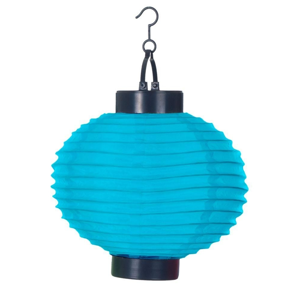 Pure Garden 4 Light Blue Outdoor Led Solar Chinese Lantern 50 19 B Intended For Trendy Outdoor Hanging Solar Lanterns (View 18 of 20)