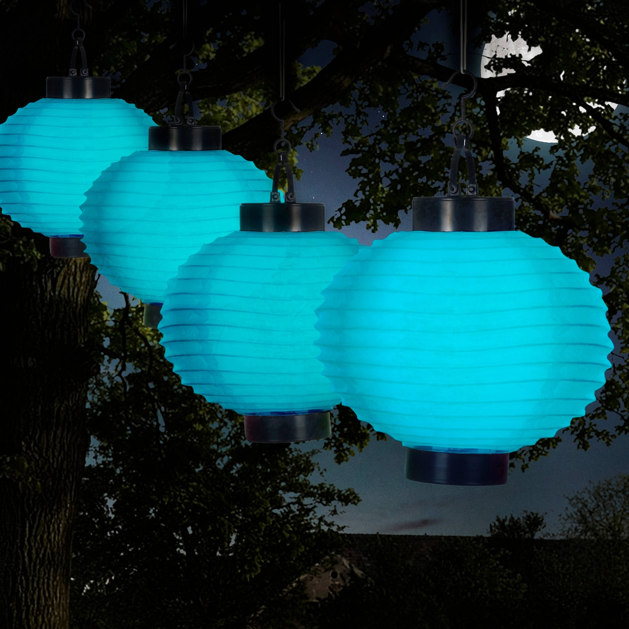 Pure Garden Outdoor Solar Chinese Lanterns, Led, Set Of 4 – Walmart Pertaining To Well Liked Outdoor Hanging Chinese Lanterns (View 4 of 20)
