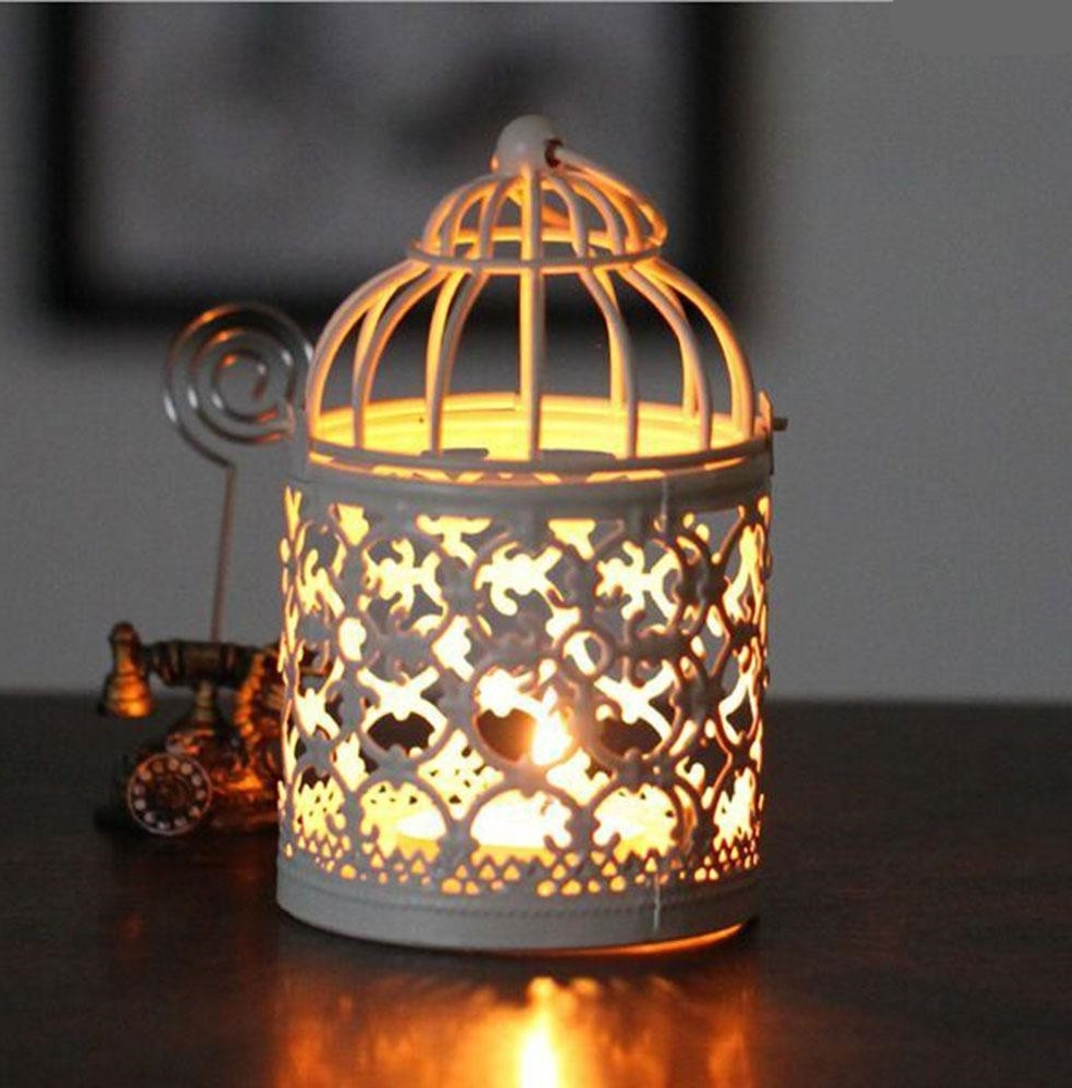 Recent Birdcage Decorative Moroccan Lantern Votive Candle Holder Hanging Throughout Outdoor Tea Light Lanterns