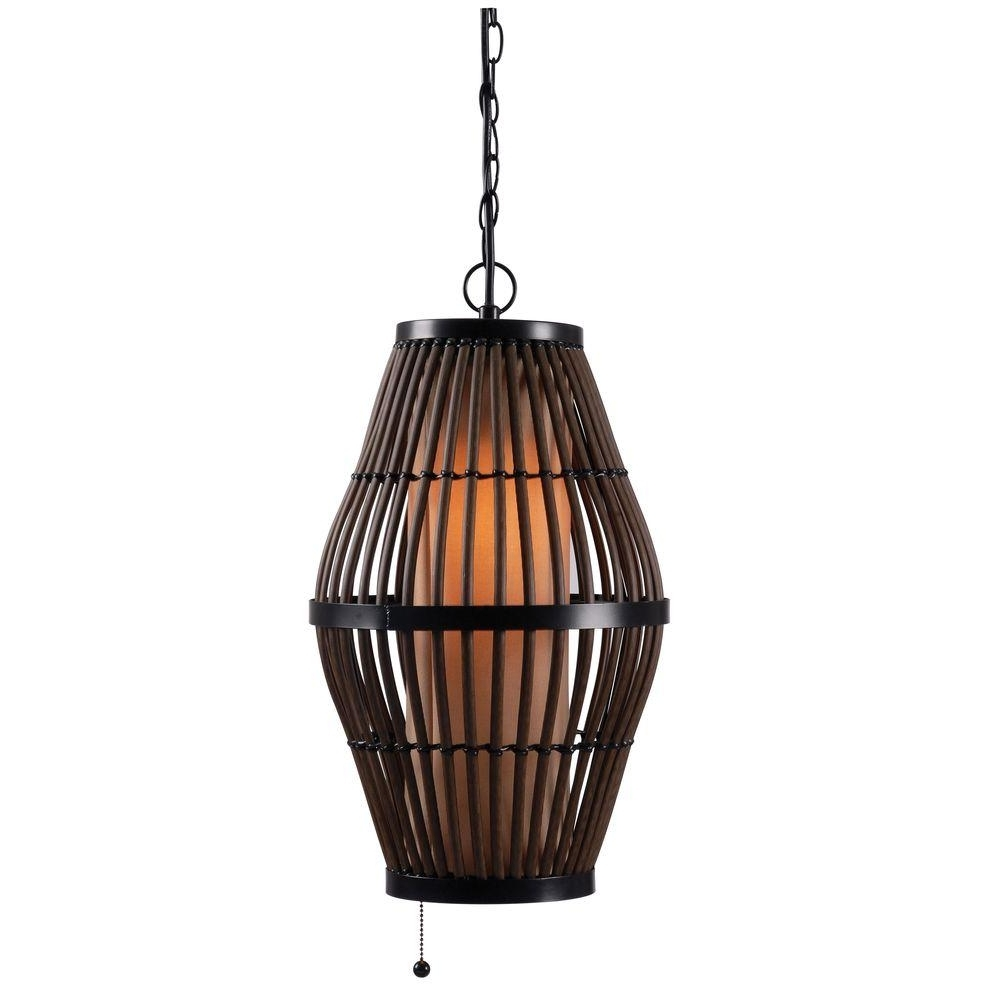 Recent Biscayne 1 Light 12 In. Rattan Outdoor Pendant 93390Rat – The Home Depot Regarding Outdoor Rattan Hanging Lights (Gallery 1 of 20)