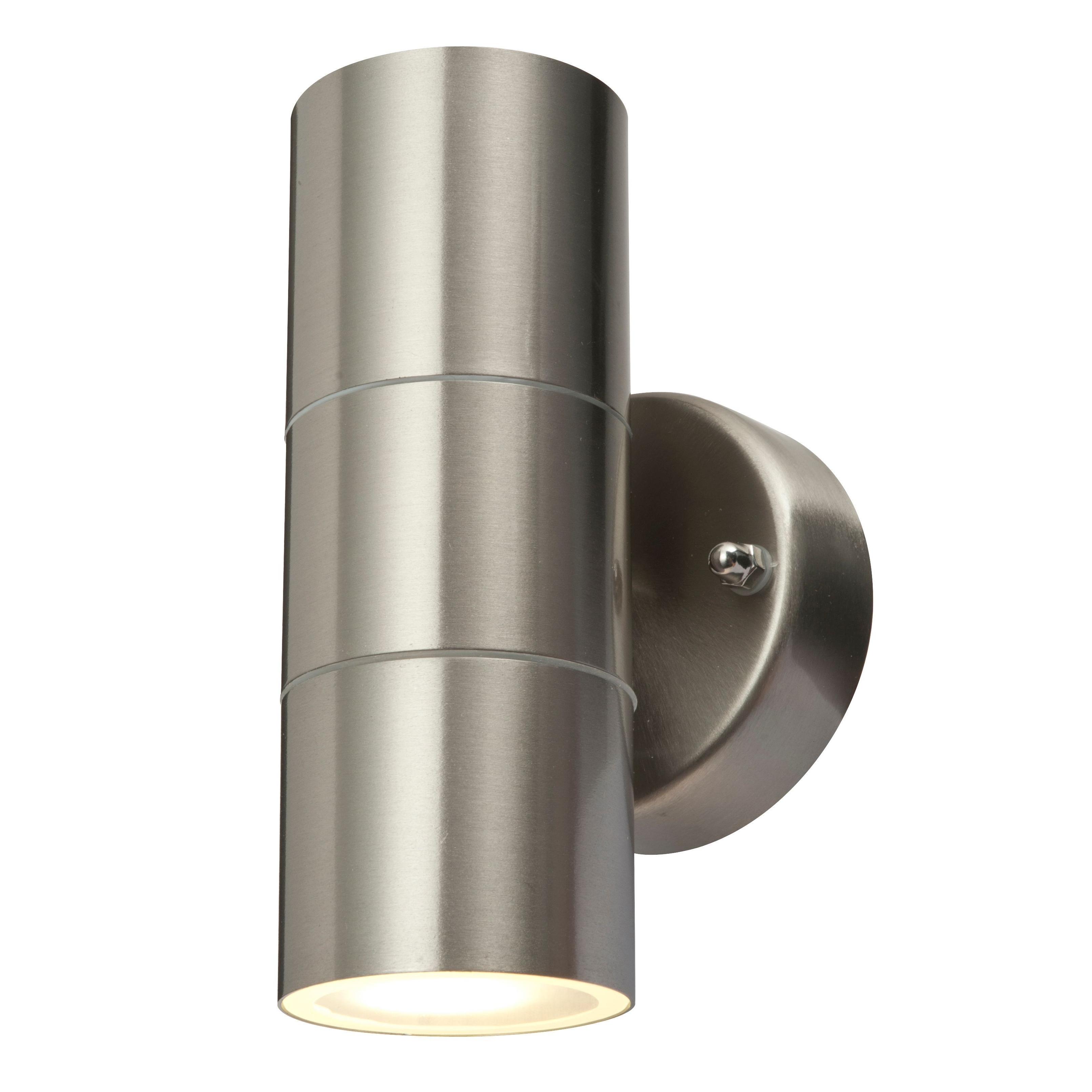 Recent Blooma Sommus Stainless Steel Mains Powered External Up & Down Wall In Silver Outdoor Wall Lights (View 10 of 20)