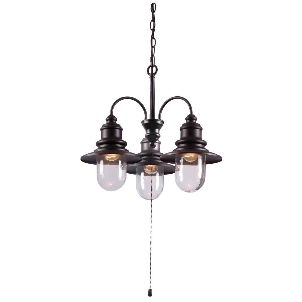 Recent Oil Rubbed Bronze Outdoor Hanging Lights Throughout Broadcast 3 Light 21 In. Oil Rubbed Bronze Chandelier 93033Orb – The (Gallery 20 of 20)