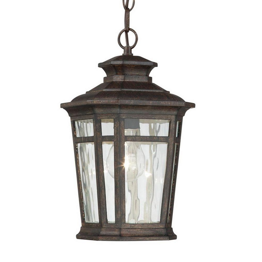 Recent Outdoor Hanging Lanterns Throughout Home Decorators Collection Waterton 1 Light Dark Ridge Bronze (View 15 of 20)