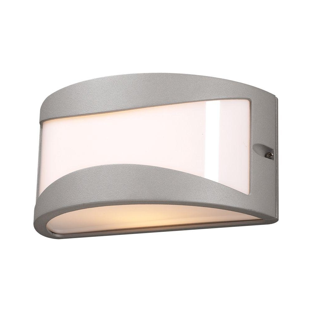 Recent Plc Lighting 1 Light Outdoor Silver Wall Sconce With Matte Opal Intended For Modern Outdoor Light Fixtures At Home Depot (View 17 of 20)