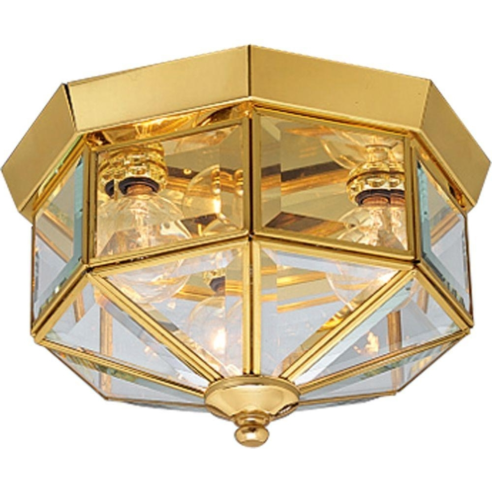 Recent Polished Brass Outdoor Ceiling Lights Inside Progress Lighting 3 Light Polished Brass Flushmount With Clear (Gallery 16 of 20)