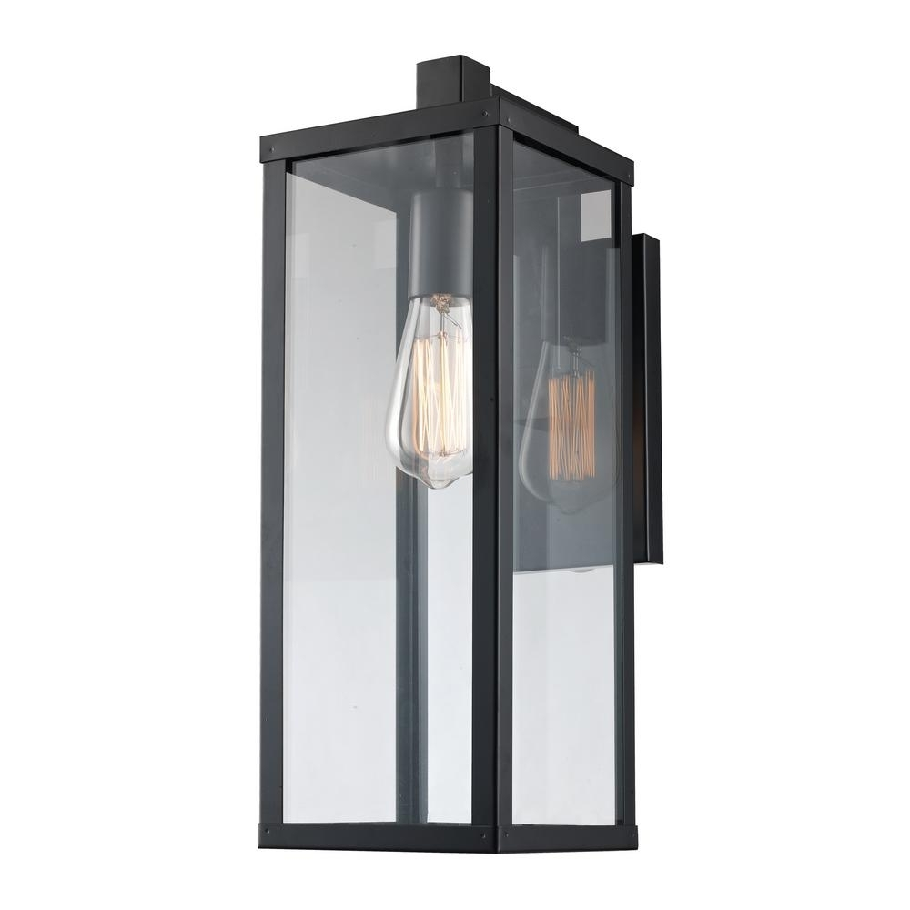 Recent Rectangle Outdoor Wall Lights Inside 17.75 In. 1 Light Black Outdoor Wall Lantern 40751 Bk – The Home Depot (Gallery 10 of 20)