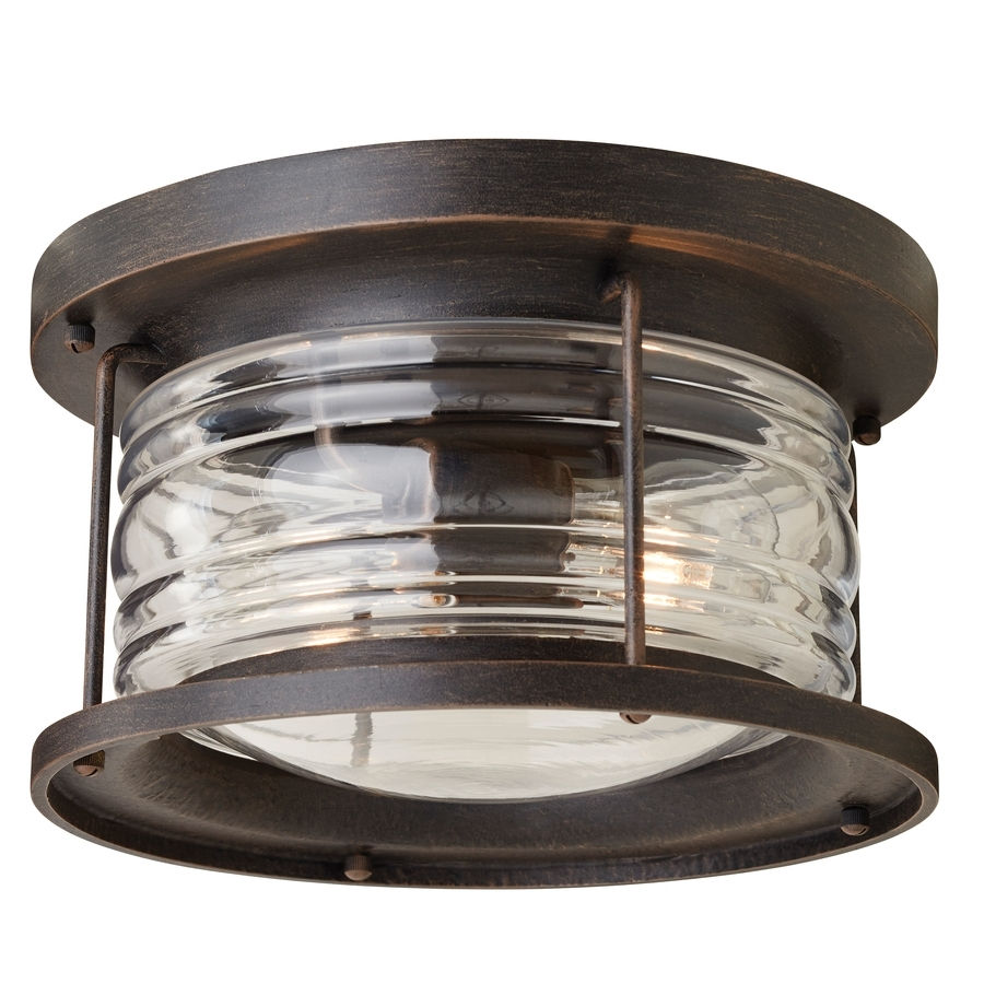 Recent Shop Allen + Roth Stonecroft 12 In W Aged Bronze Outdoor Flush Mount For Vintage Outdoor Ceiling Lights (View 3 of 20)