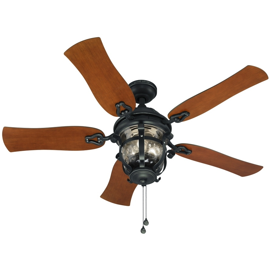 Recent Shop Harbor Breeze Lake Placido 52 In Black Iron Indoor/outdoor Throughout Black Outdoor Ceiling Fans With Light (Gallery 16 of 20)