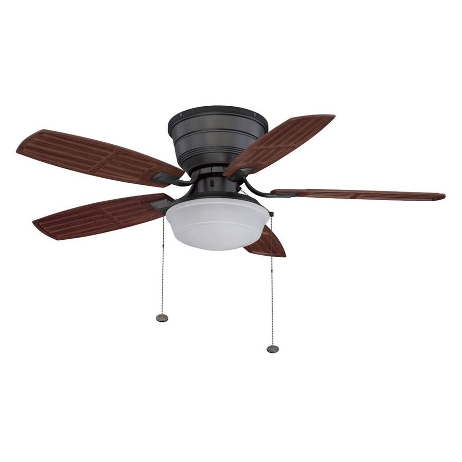 Recent Shop Litex 44 In Natural Iron Flush Mount Ceiling Fan With Light Kit With Outdoor Ceiling Fans With Lights At Lowes (View 13 of 20)