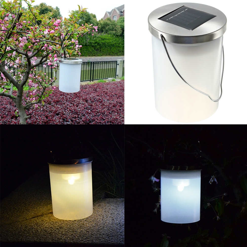 Recent Solar Powered Outdoor Hanging Lanterns Regarding Waterproof Solar Power Hanging Cylinder Lanterns Led Landscape Path (Gallery 14 of 20)