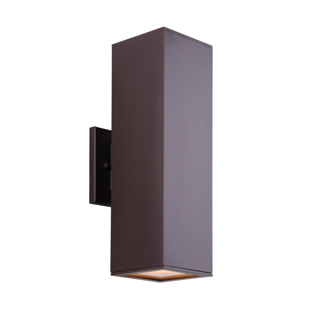 Rectangle Outdoor Wall Lights With Regard To Current Canarm Park 2 Light Oil Rubbed Bronze Outdoor Wall Light With (View 16 of 20)