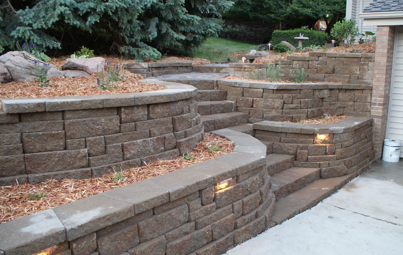 Retaining Walls Portfolio Of Images Omaha Landscape Design Retaining Throughout Most Recent Outdoor Block Wall Lighting (View 18 of 20)