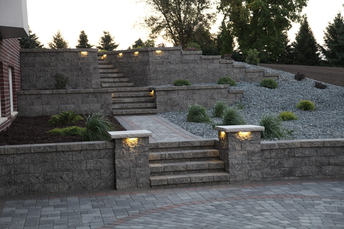 Retaining Walls – Wall Blocks – Retaining Wall Designs – Landscape With Regard To Trendy Outdoor Block Wall Lighting (View 17 of 20)