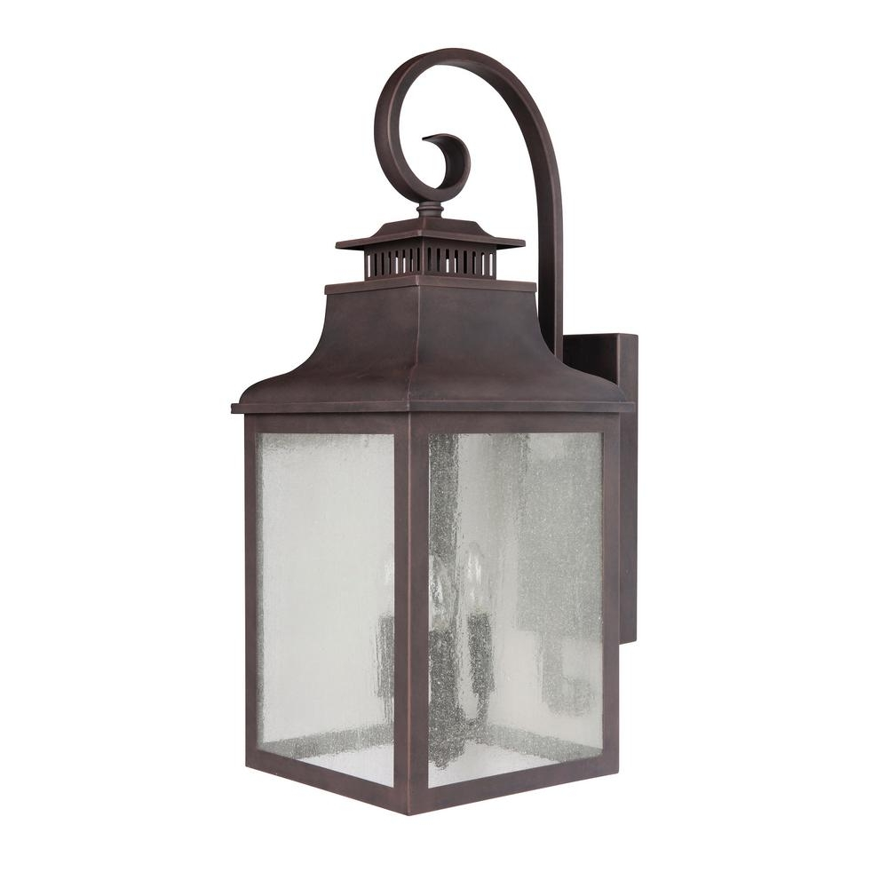 Rustic Outdoor Wall Lighting For Most Current Y Decor Morgan 3 Light Rustic Bronze Outdoor Wall Mount Lantern (View 12 of 20)