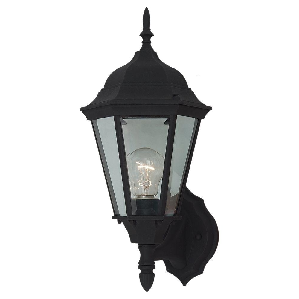 Sea Gull Lighting Bakersville 1 Light Outdoor Black Wall Mount For Most Recently Released Modern Outdoor Light Fixtures At Home Depot (View 18 of 20)