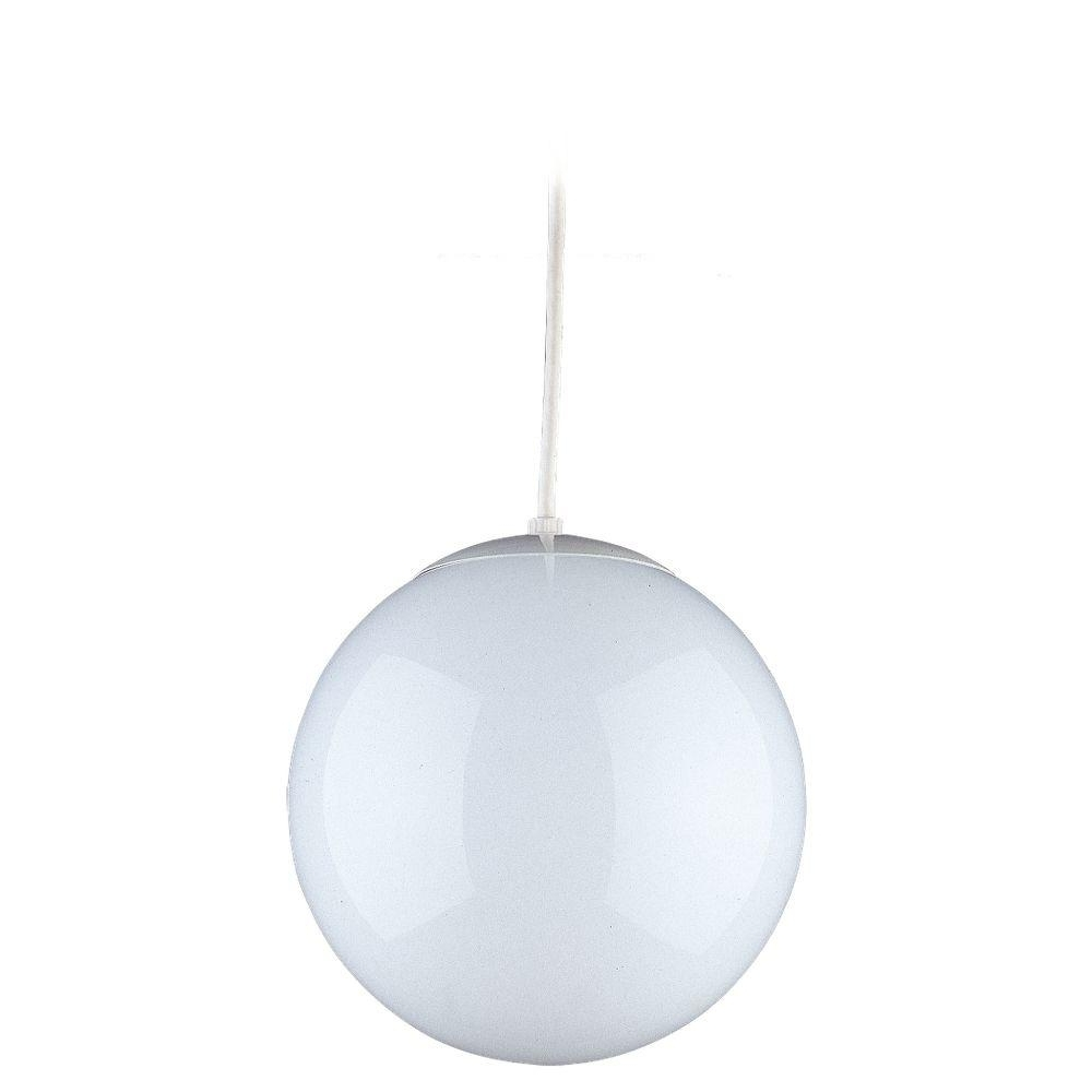 Sea Gull Lighting Hanging Globe 1 Light White Pendant 6020 15 – The Pertaining To Best And Newest Outdoor Plastic Hanging Lights (View 16 of 20)