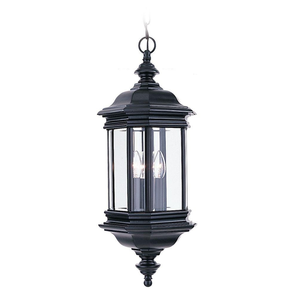 Sea Gull Lighting Hill Gate 3 Light Outdoor Black Hanging Pendant Intended For Recent Outdoor Hanging Lights At Ebay (View 6 of 20)