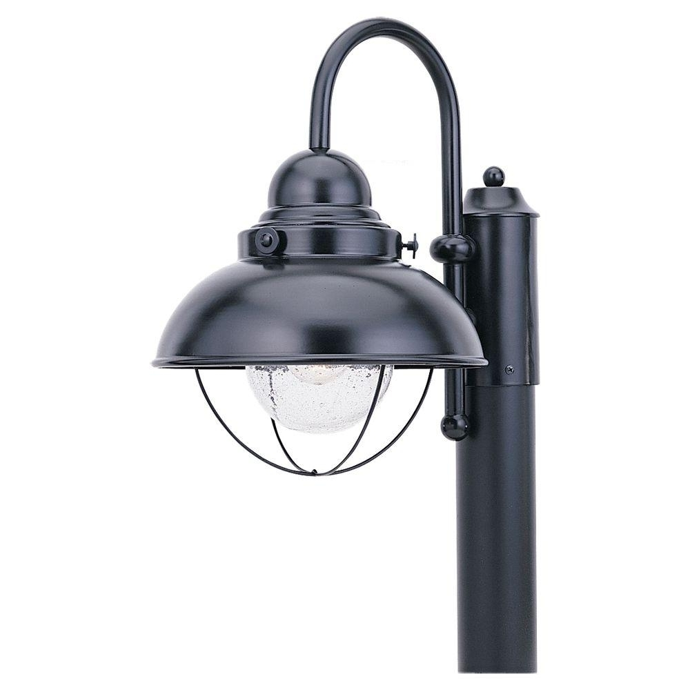 Sea Gull Lighting Sebring 1 Light Outdoor Black Post Top 8269 12 Within 2018 Rustic Outdoor Lighting At Home Depot (View 12 of 20)