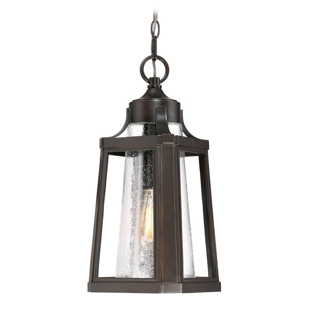 Seeded Glass Outdoor Hanging Light Bronze Quoizel Lighting Throughout Trendy Quoizel Outdoor Hanging Lights (View 9 of 20)