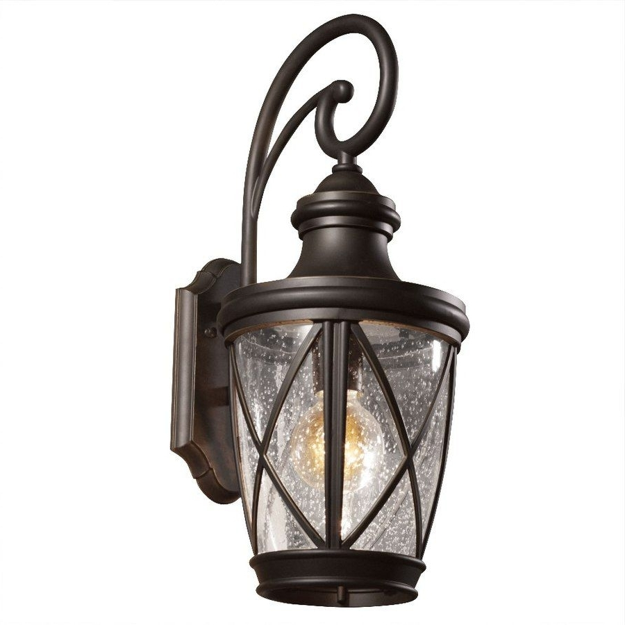 Shop Allen + Roth Castine 20 2/8 In Rubbed Bronze Outdoor Wall Light In Widely Used Outdoor Wall Porch Lights (View 9 of 20)