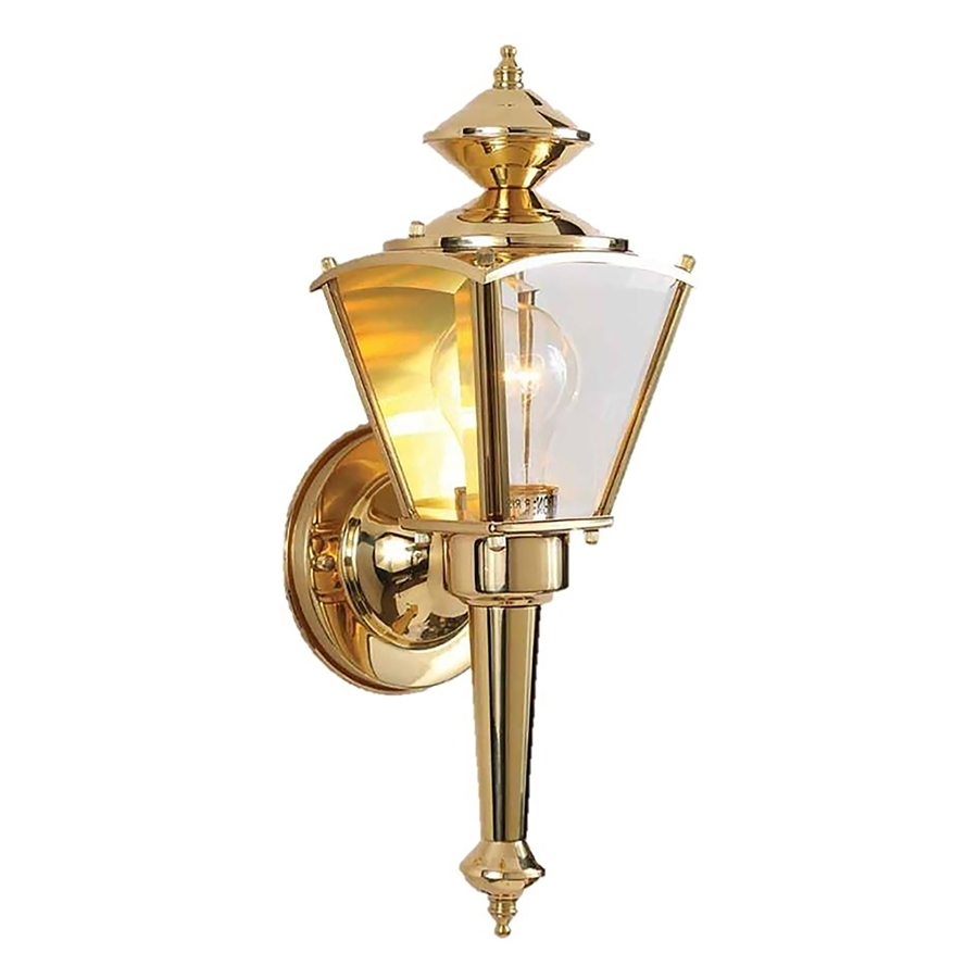 Shop Desmet 15 In H Polished Brass Outdoor Wall Light At Lowes With Current Polished Brass Outdoor Wall Lights (View 17 of 20)