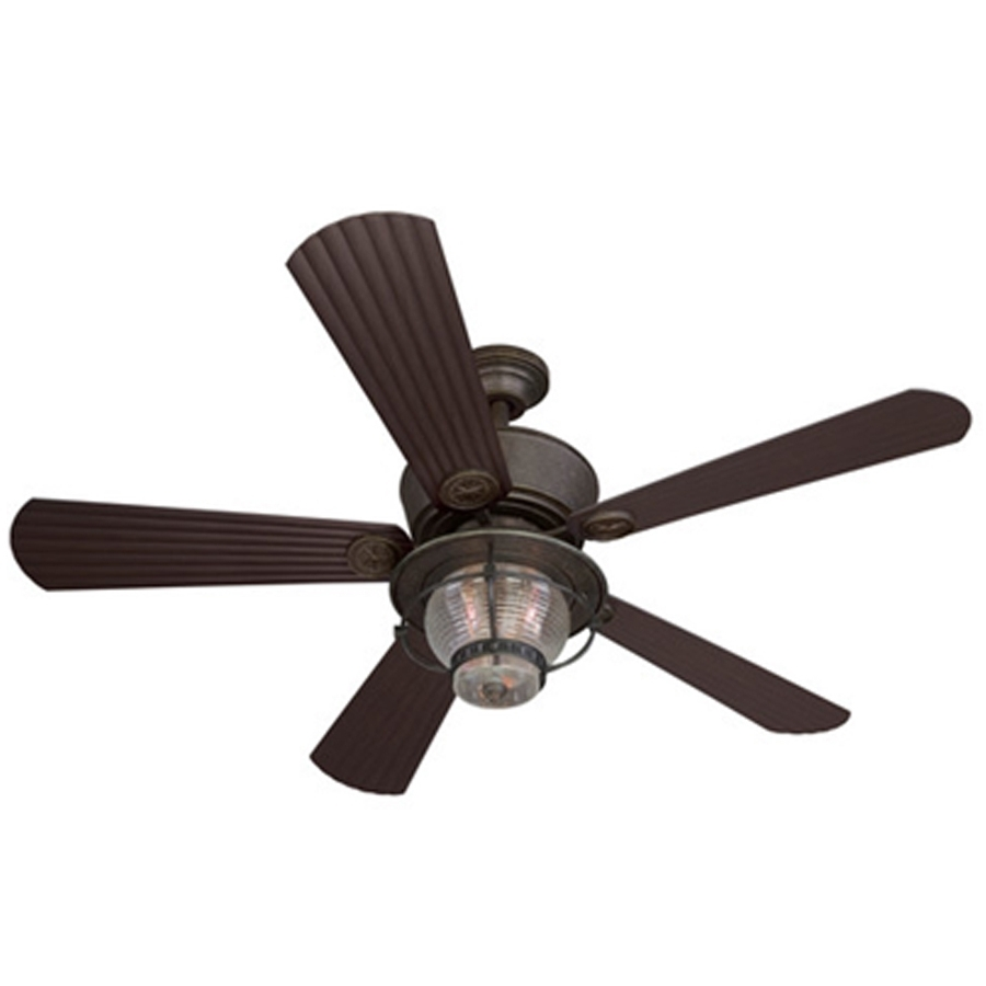 Shop Harbor Breeze Merrimack 52 In Antique Bronze Indoor/outdoor With Regard To Favorite Outdoor Ceiling Fans With Flush Mount Lights (View 19 of 20)
