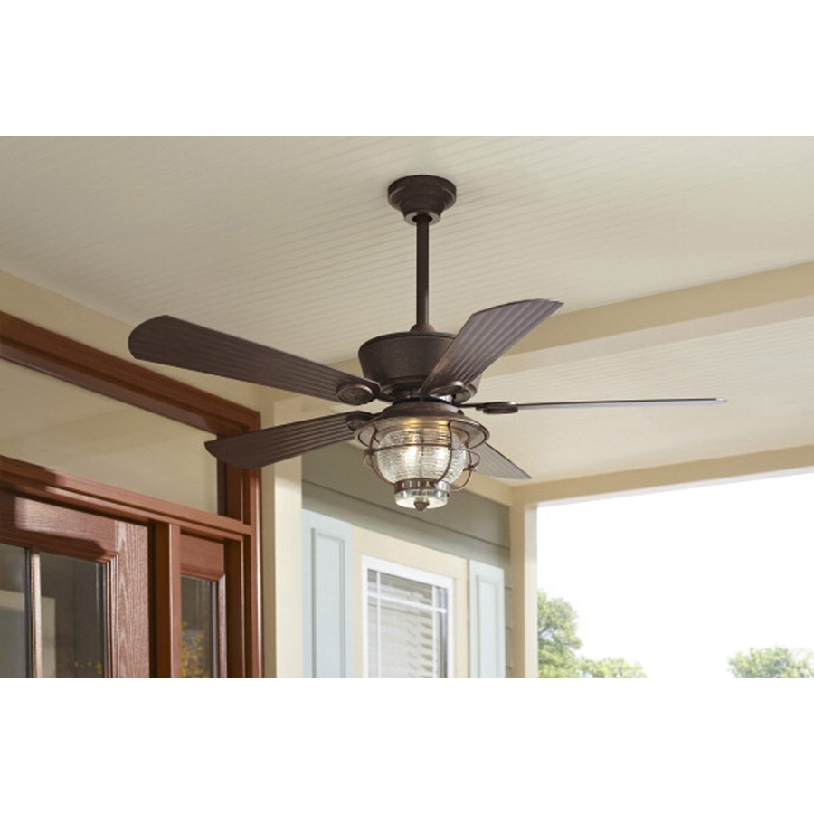 Shop Harbor Breeze Merrimack 52 In Antique Bronze Outdoor Downrod Or With Regard To Preferred Outdoor Ceiling Fan Lights With Remote Control (View 17 of 20)