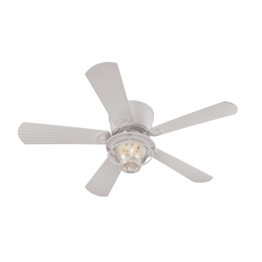 Shop Harbor Breeze Merrimack 52 In White Indoor/outdoor Flush Mount Intended For Most Current Outdoor Ceiling Fans With Remote Control Lights (View 12 of 20)
