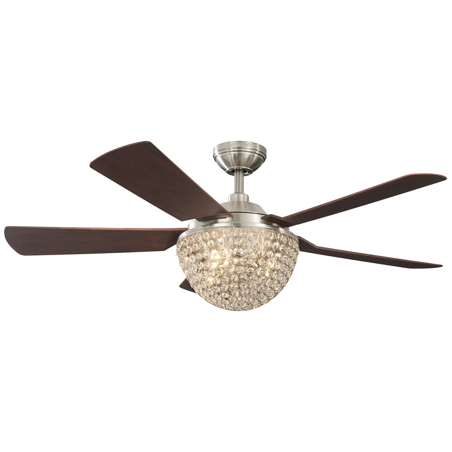 Shop Harbor Breeze Parklake 52 In Brushed Nickel Indoor Downrod With Regard To Most Popular Hunter Outdoor Ceiling Fans With Lights And Remote (View 18 of 20)