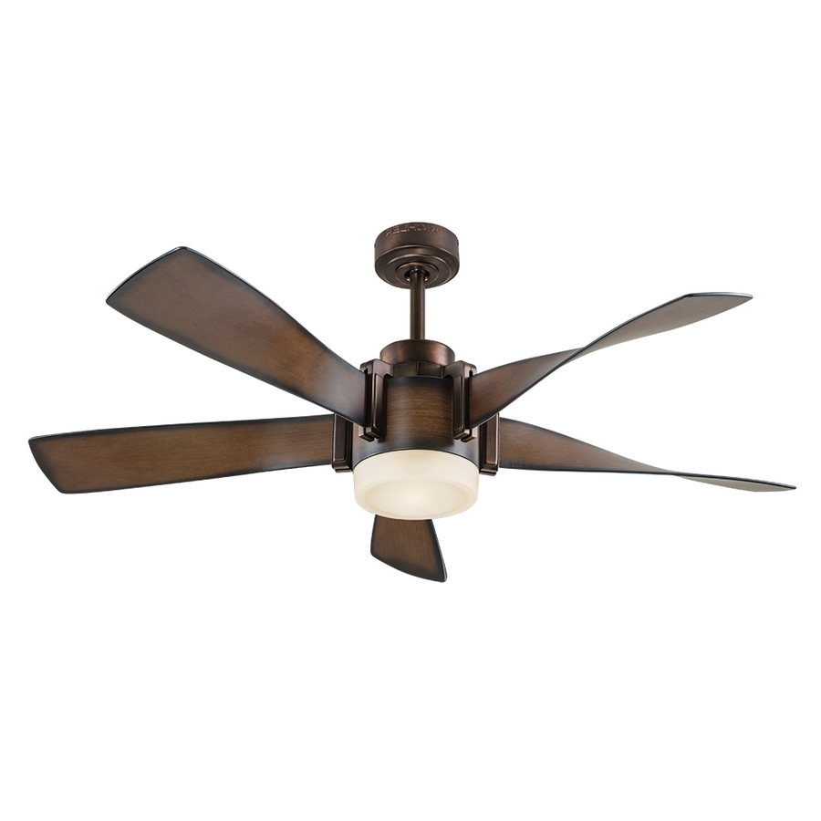 Shop Kichler 52 In Mediterranean Walnut With Bronze Accents Led Inside Popular Outdoor Ceiling Fans Lights At Lowes (View 7 of 20)