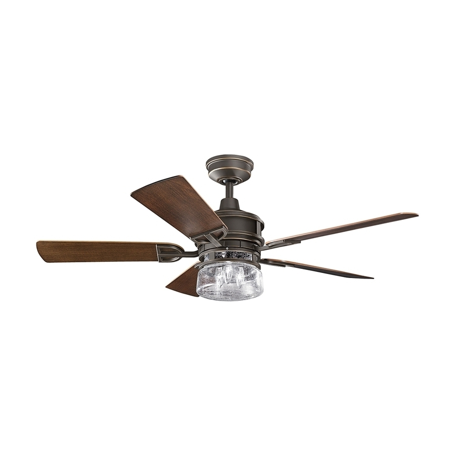Shop Kichler Lyndon 52 In Olde Bronze Standard Indoor/outdoor Intended For 2019 Outdoor Ceiling Fans With Remote Control Lights (View 13 of 20)